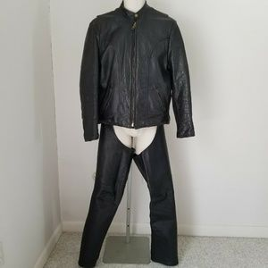 U.S. Made Co. Men's Black Leather Jacket & Chaps